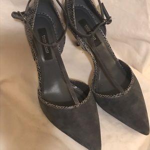 WHBM Suede T-Strap Heels